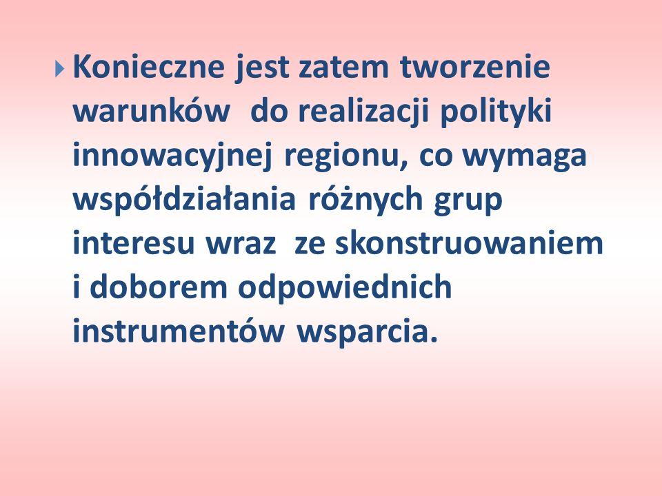 Konieczne jest zatem tworzenie warunków do realizacji polityki innowacyjnej regionu, co wymaga współdziałania różnych grup interesu wraz ze skonstruow
