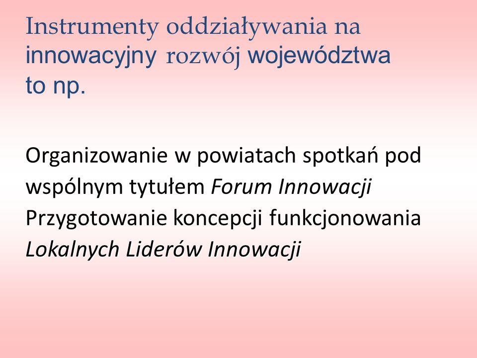 Organizowanie w powiatach spotkań pod Forum Innowacji wspólnym tytułem Forum Innowacji Przygotowanie koncepcji funkcjonowania Lokalnych Liderów Innowa