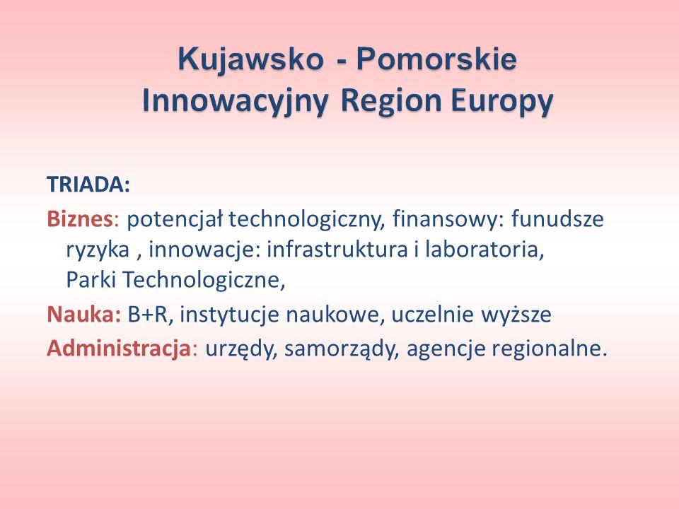 Kujawsko - Pomorskie Innowacyjny Region Europy TRIADA: Biznes: potencjał technologiczny, finansowy: funudsze ryzyka, innowacje: infrastruktura i labor
