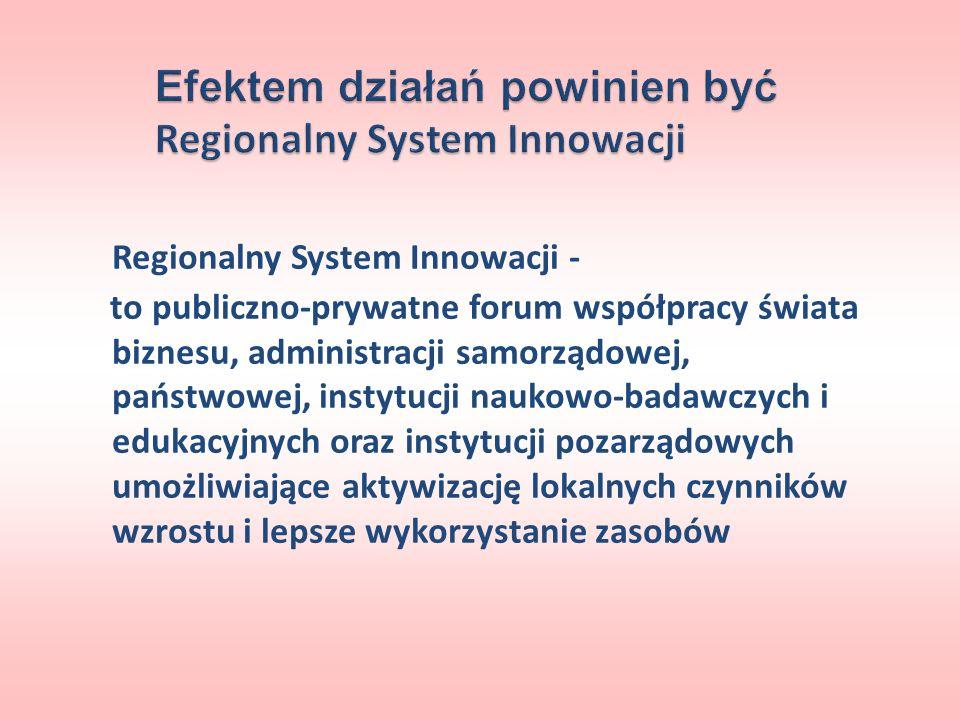 Regionalny System Innowacji - to publiczno-prywatne forum współpracy świata biznesu, administracji samorządowej, państwowej, instytucji naukowo-badawc