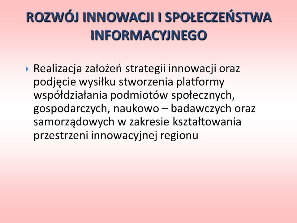 Realizacja założeń strategii innowacji oraz podjęcie wysiłku stworzenia platformy współdziałania podmiotów społecznych, gospodarczych, naukowo – badaw