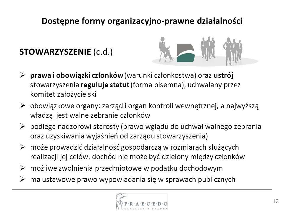 13 Dostępne formy organizacyjno-prawne działalności STOWARZYSZENIE (c.d.) prawa i obowiązki członków (warunki członkostwa) oraz ustrój stowarzyszenia
