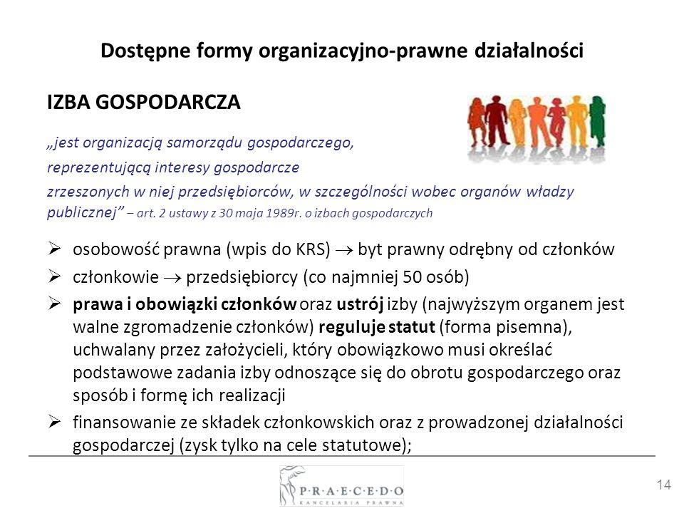 14 Dostępne formy organizacyjno-prawne działalności IZBA GOSPODARCZA jest organizacją samorządu gospodarczego, reprezentującą interesy gospodarcze zrz