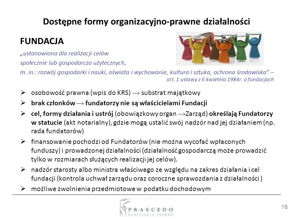 16 Dostępne formy organizacyjno-prawne działalności FUNDACJA ustanowiona dla realizacji celów społecznie lub gospodarczo użytecznych, m. in.: rozwój g