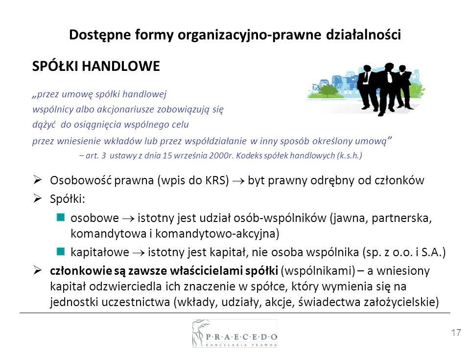 17 Dostępne formy organizacyjno-prawne działalności SPÓŁKI HANDLOWE przez umowę spółki handlowej wspólnicy albo akcjonariusze zobowiązują się dążyć do