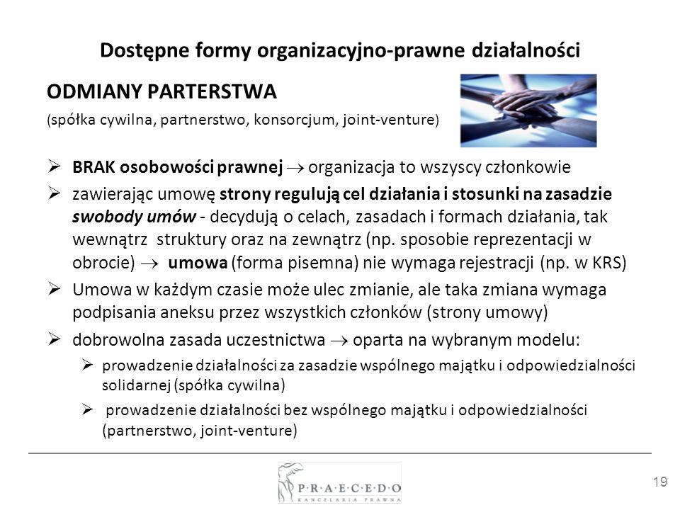 19 Dostępne formy organizacyjno-prawne działalności ODMIANY PARTERSTWA ( spółka cywilna, partnerstwo, konsorcjum, joint-venture ) BRAK osobowości praw