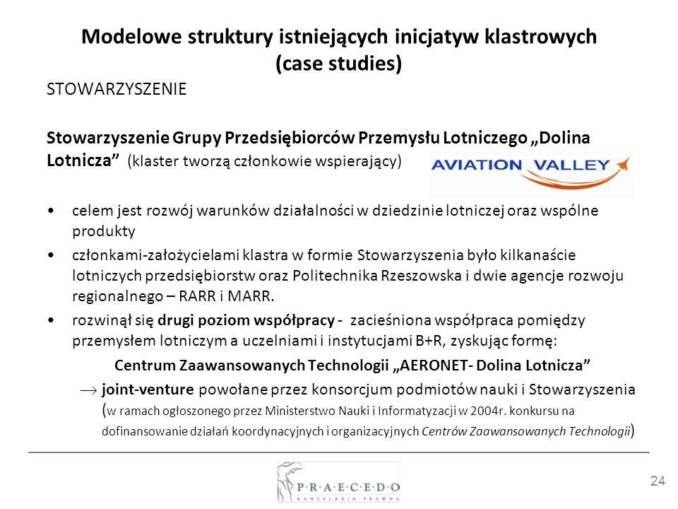 24 Modelowe struktury istniejących inicjatyw klastrowych (case studies) STOWARZYSZENIE Stowarzyszenie Grupy Przedsiębiorców Przemysłu Lotniczego Dolin