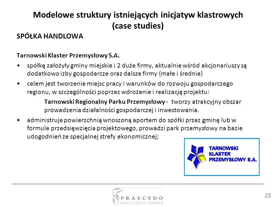 25 Modelowe struktury istniejących inicjatyw klastrowych (case studies) SPÓŁKA HANDLOWA Tarnowski Klaster Przemysłowy S.A. spółkę założyły gminy miejs