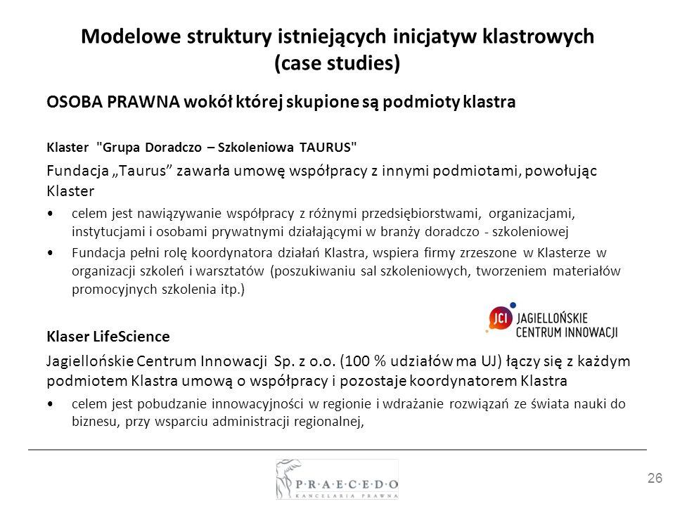 26 Modelowe struktury istniejących inicjatyw klastrowych (case studies) OSOBA PRAWNA wokół której skupione są podmioty klastra Klaster
