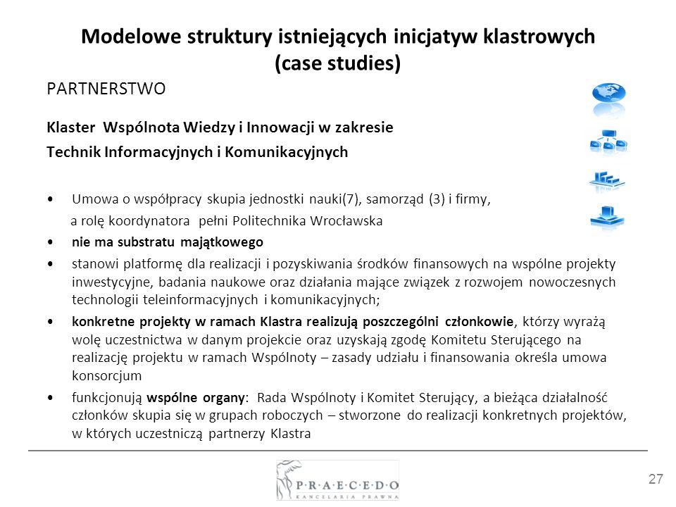 27 Modelowe struktury istniejących inicjatyw klastrowych (case studies) PARTNERSTWO Klaster Wspólnota Wiedzy i Innowacji w zakresie Technik Informacyj