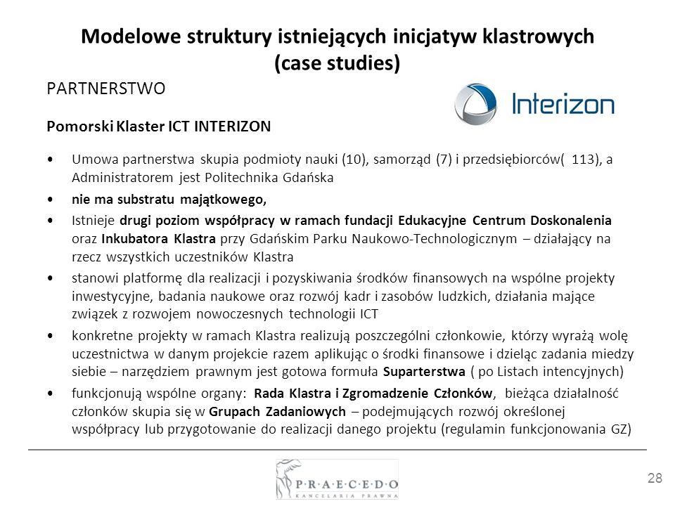 28 Modelowe struktury istniejących inicjatyw klastrowych (case studies) PARTNERSTWO Pomorski Klaster ICT INTERIZON Umowa partnerstwa skupia podmioty n