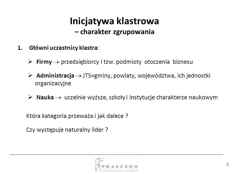 3 Inicjatywa klastrowa – charakter zgrupowania 1.Główni uczestnicy klastra: Firmy przedsiębiorcy i tzw. podmioty otoczenia biznesu Administracja JTS=g