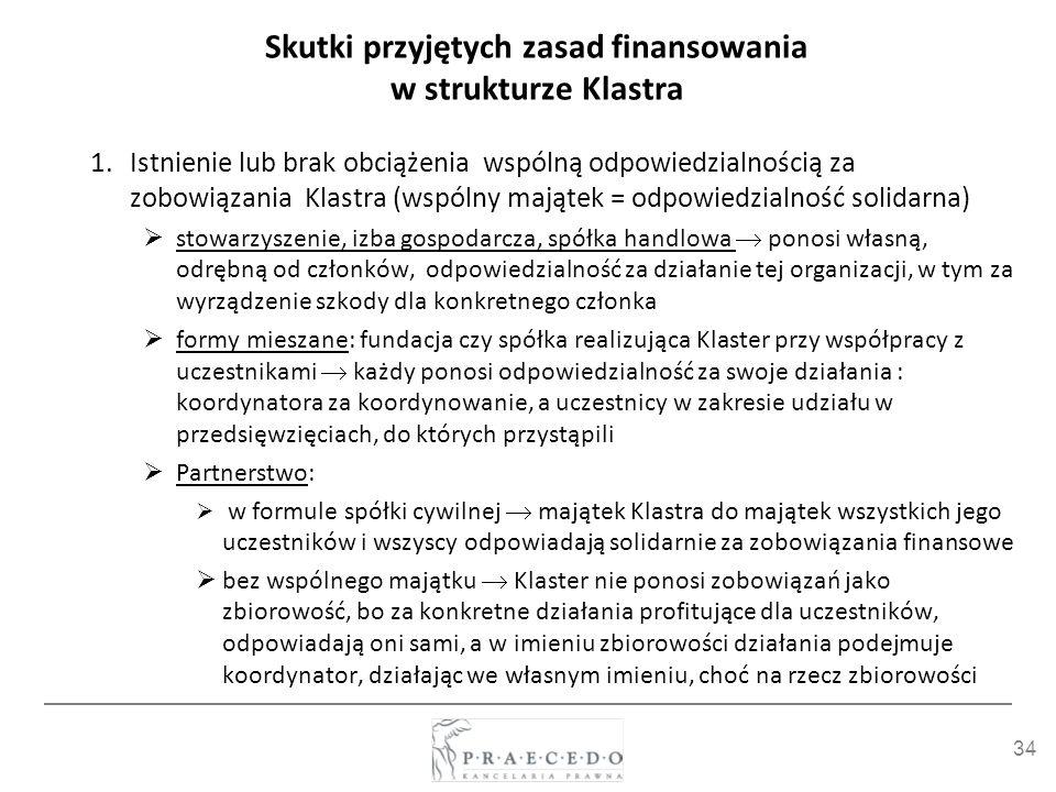 34 Skutki przyjętych zasad finansowania w strukturze Klastra 1.Istnienie lub brak obciążenia wspólną odpowiedzialnością za zobowiązania Klastra (wspól