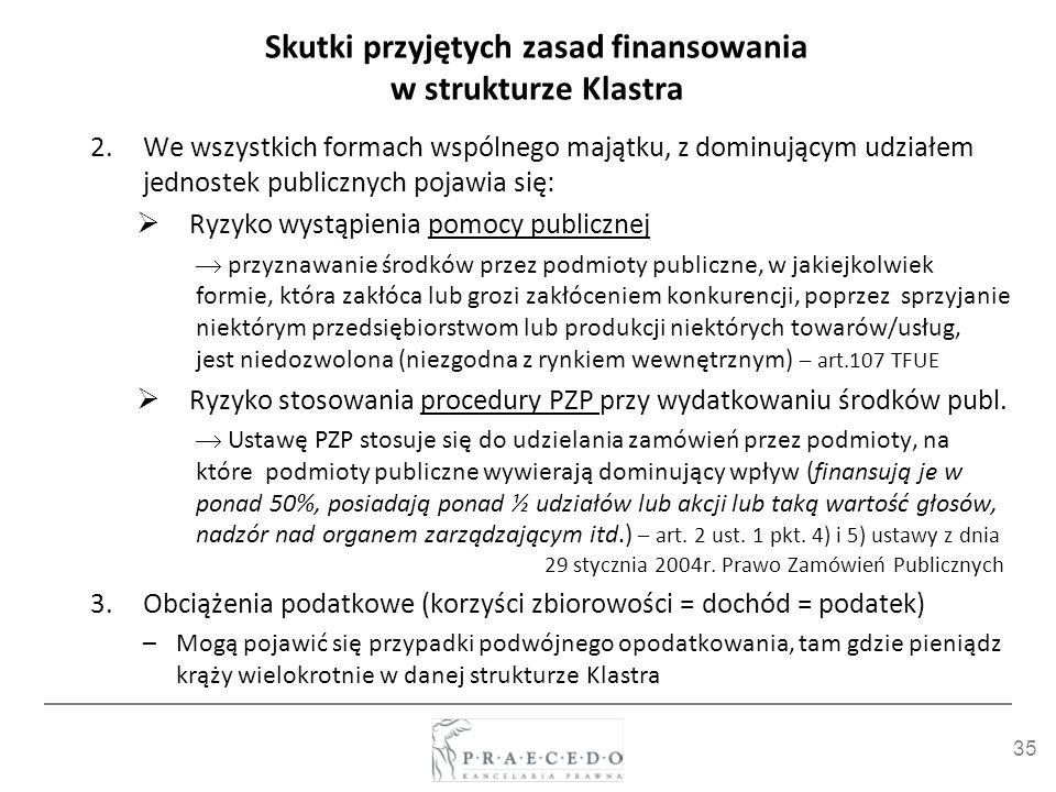 35 Skutki przyjętych zasad finansowania w strukturze Klastra 2.We wszystkich formach wspólnego majątku, z dominującym udziałem jednostek publicznych p