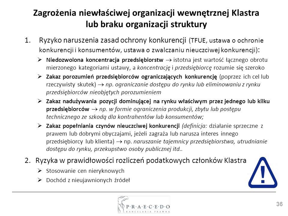 36 Zagrożenia niewłaściwej organizacji wewnętrznej Klastra lub braku organizacji struktury 1.Ryzyko naruszenia zasad ochrony konkurencji (TFUE, ustawa