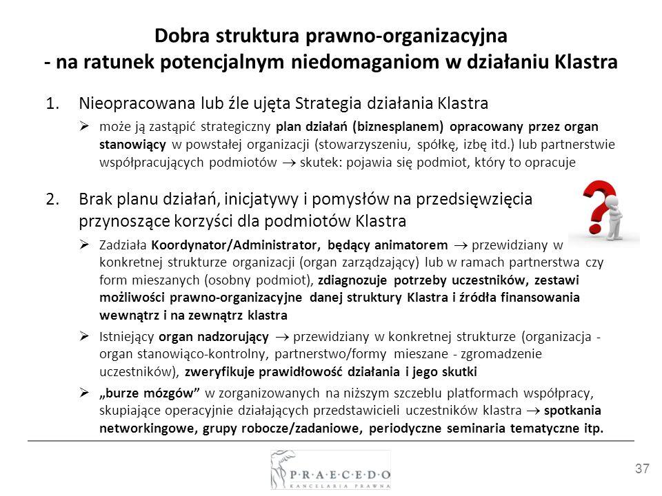 37 Dobra struktura prawno-organizacyjna - na ratunek potencjalnym niedomaganiom w działaniu Klastra 1.Nieopracowana lub źle ujęta Strategia działania