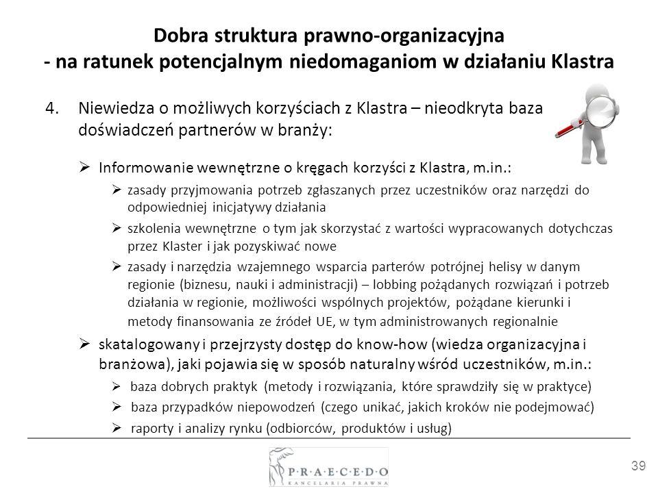 39 Dobra struktura prawno-organizacyjna - na ratunek potencjalnym niedomaganiom w działaniu Klastra 4.Niewiedza o możliwych korzyściach z Klastra – ni