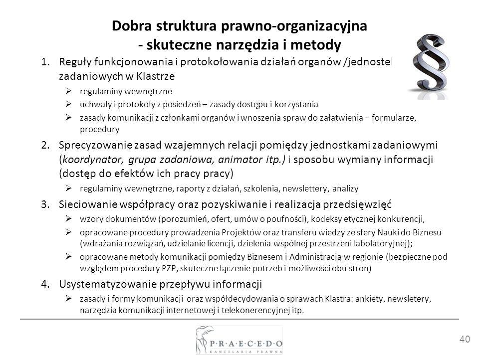 40 Dobra struktura prawno-organizacyjna - skuteczne narzędzia i metody 1.Reguły funkcjonowania i protokołowania działań organów /jednostek zadaniowych