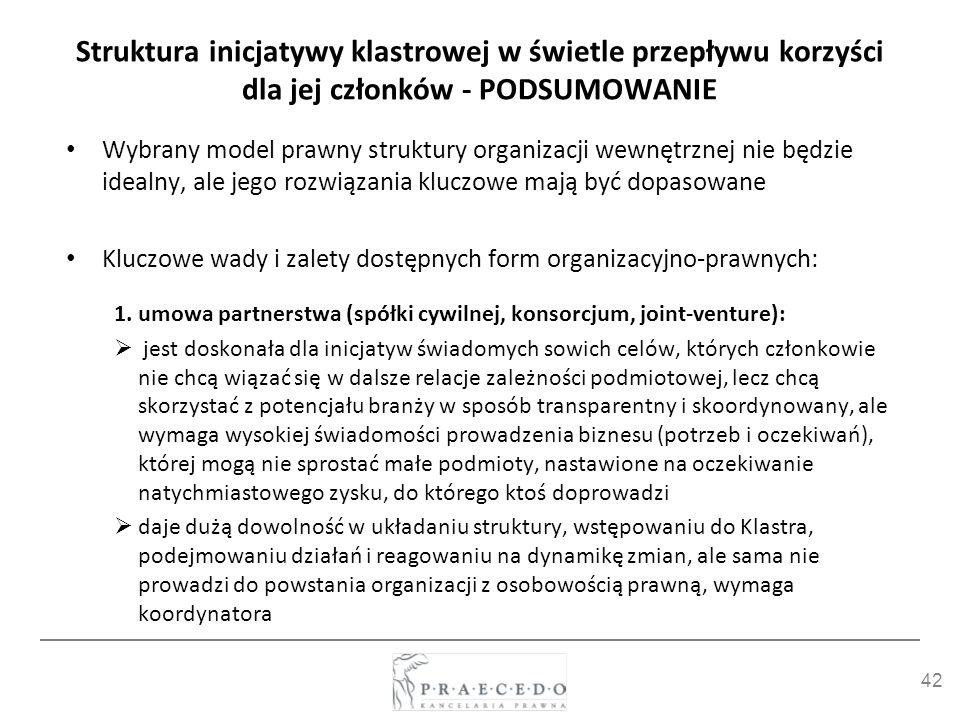 42 Struktura inicjatywy klastrowej w świetle przepływu korzyści dla jej członków - PODSUMOWANIE Wybrany model prawny struktury organizacji wewnętrznej
