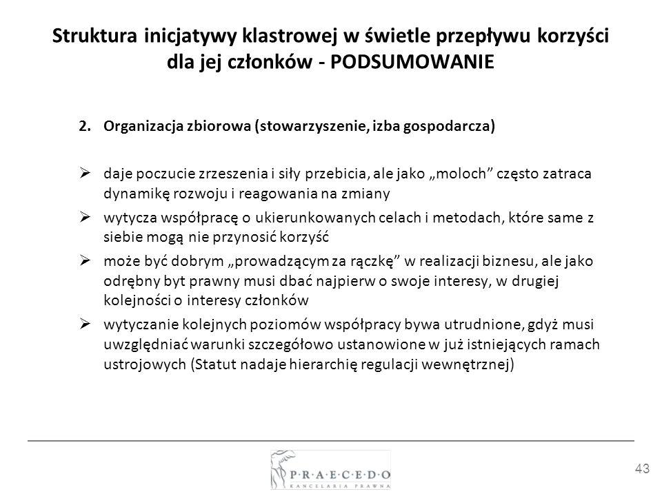 43 Struktura inicjatywy klastrowej w świetle przepływu korzyści dla jej członków - PODSUMOWANIE 2.Organizacja zbiorowa (stowarzyszenie, izba gospodarc