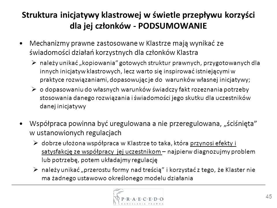 45 Struktura inicjatywy klastrowej w świetle przepływu korzyści dla jej członków - PODSUMOWANIE Mechanizmy prawne zastosowane w Klastrze mają wynikać