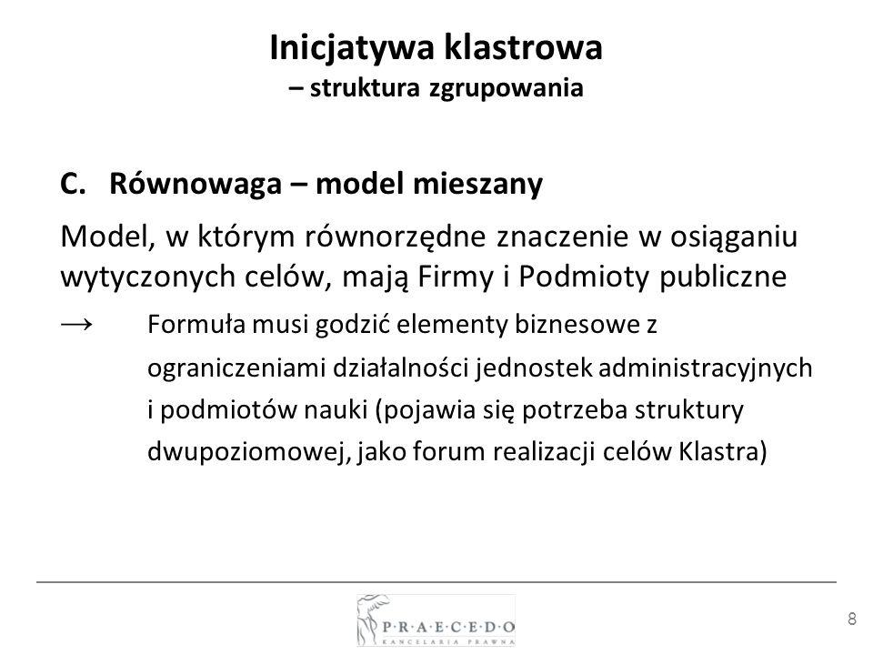 29 Modelowe struktury istniejących inicjatyw klastrowych (case studies) PARTNERSTWO Bałtycki Klaster Ekoenergetyczny (BKEE) Umowa konsorcjum samorządu (14), jednostek naukowych(10), innych instytucji (11) i firmy (77) organami są: Rada Programowa i Zarząd oraz koordynator – Instytut Maszyn Przepływowych PAN (reprezentant Konsorcjum BKEE w kontaktach zewnętrznych, posiada osobowość prawną i pełni funkcję lidera konsorcjum) Formuła drugiego poziomu współpracy - zaplecze techniczne Zarządu BKEE tworzą biura koordynacyjne: CZT Pomorze , CZT RIMAMI , Sieci Naukowej EKO - ENERGIA , Centrum Badań Energii Odnawialnej przy Uniwersytecie Warmińsko - Mazurskim oraz administracja IMP PAN