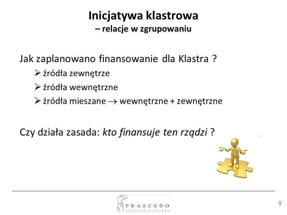 9 Inicjatywa klastrowa – relacje w zgrupowaniu Jak zaplanowano finansowanie dla Klastra ? źródła zewnętrze źródła wewnętrzne źródła mieszane wewnętrzn