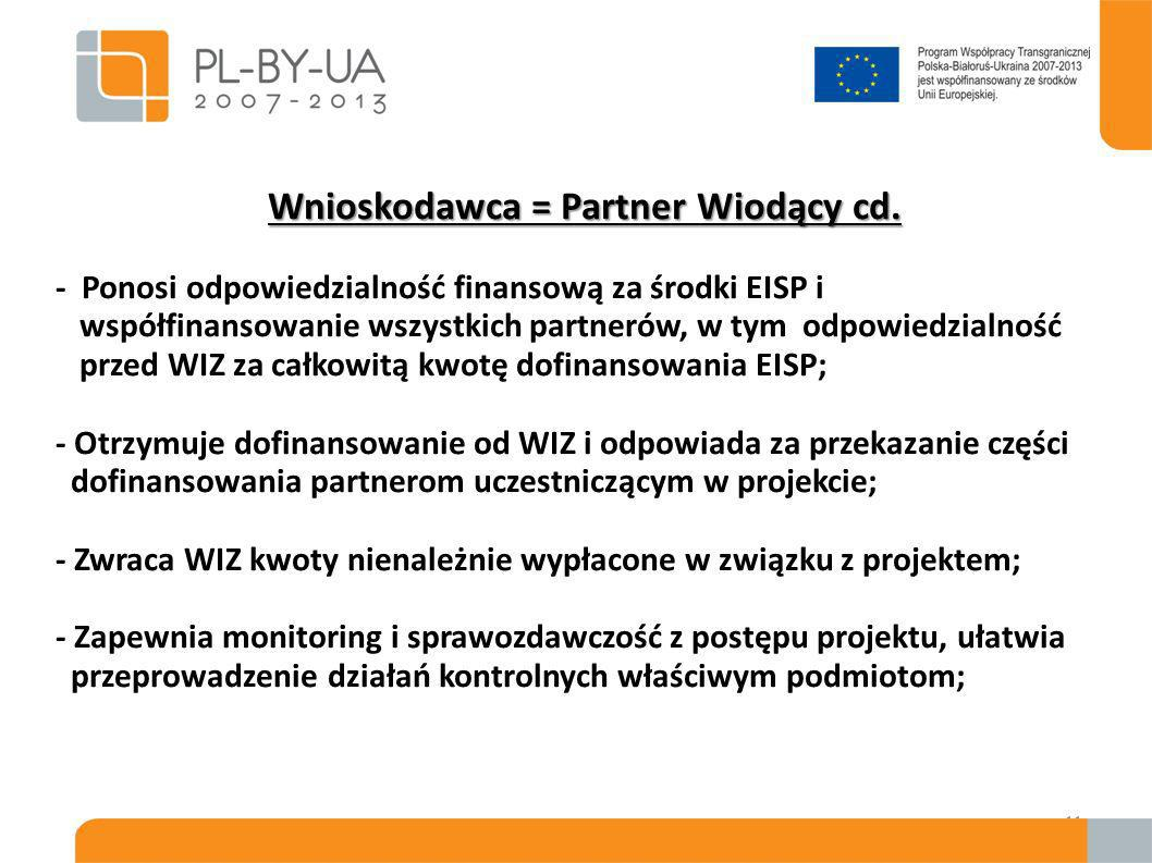 Partnerzy Projektu Wszyscy partnerzy projektu muszą spełniać kryteria kwalifikowalności takie same jak wnioskodawca – wymienione w punkcie 2.1.1 wytycznych !!.