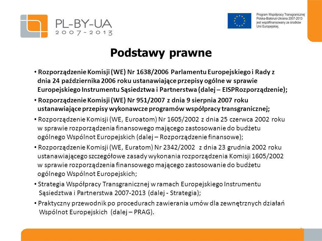 Podstawy prawne - Decyzja Komisji K(2008) 6411 z dnia 6 listopada 2008 roku zatwierdzająca Program Wspólpracy Transgranicznej Polska-Białoruś-Ukraina (dalej – Dokument Progamu); - Regulamin Organizacyjny Wspólnego Komitetu Monitorującego (dalej – Regulamin WKM); - Regulamin Organizacyjny WST; - Zestaw dokumentów aplikacyjnych (np.
