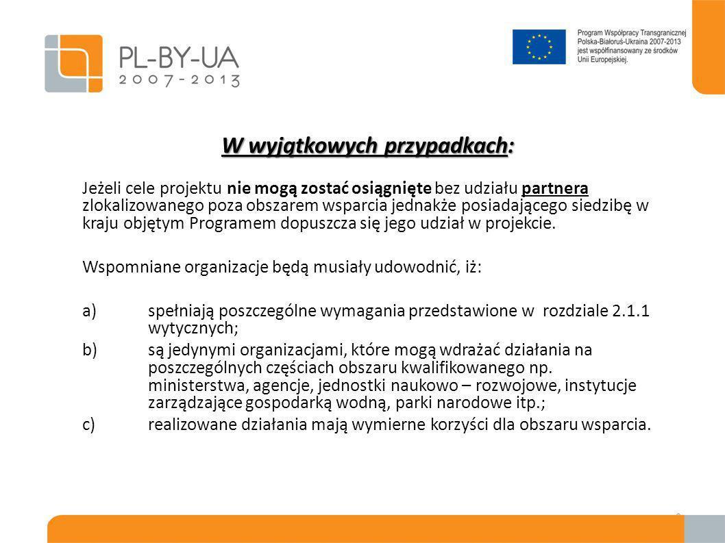 10 Wnioskodawca = Partner Wiodący - Musi być wybrany spośród wszystkich partnerów projektu przez złożeniem wniosku; - Określa zasady relacji z partnerami uczestniczącymi w projekcie w ramach umowy partnerskiej; - Składa wniosek projektowy; - Podpisuje umowę ze Wspólną Instytucją Zarządzającą (WIZ); - Ponosi całkowitą odpowiedzialność prawną i finansową wdrażania projektu przed WIZ;