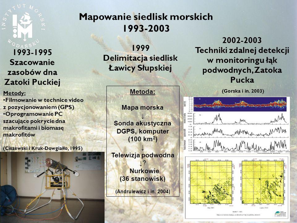 1993-1995 Szacowanie zasobów dna Zatoki Puckiej Metody: Filmowanie w technice video z pozycjonowaniem (GPS) Oprogramowanie PC szacujące pokrycie dna m