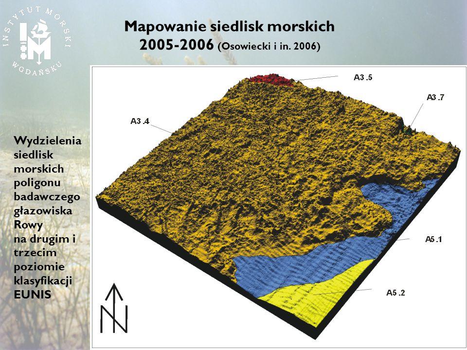 Wydzielenia siedlisk morskich poligonu badawczego głazowiska Rowy na drugim i trzecim poziomie klasyfikacji EUNIS Mapowanie siedlisk morskich 2005-200