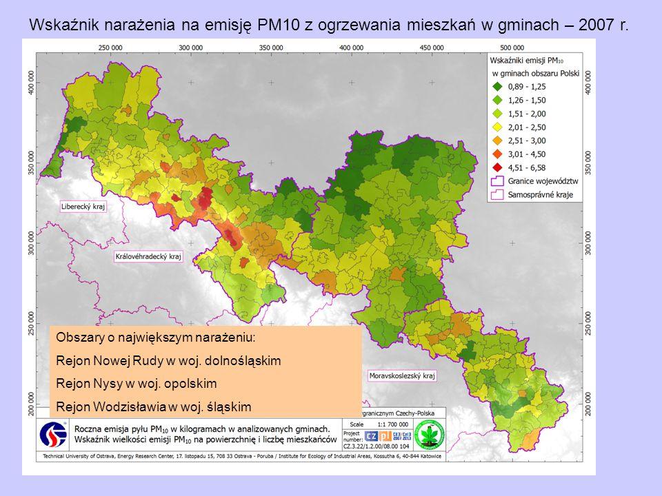Wskaźnik narażenia na emisję PM10 z ogrzewania mieszkań w gminach – 2007 r. Obszary o największym narażeniu: Rejon Nowej Rudy w woj. dolnośląskim Rejo