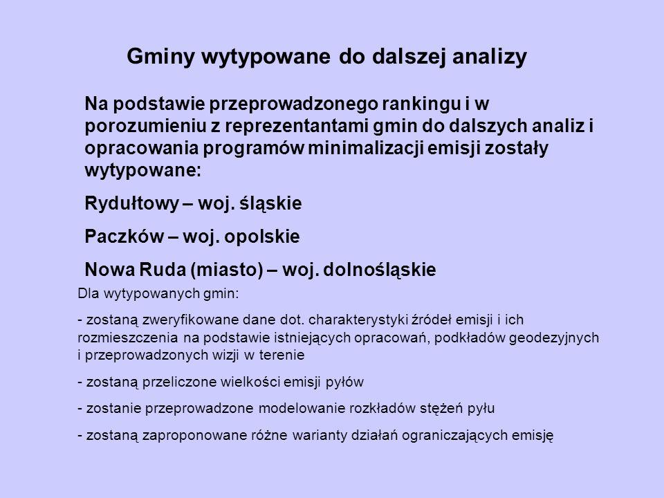Gminy wytypowane do dalszej analizy Na podstawie przeprowadzonego rankingu i w porozumieniu z reprezentantami gmin do dalszych analiz i opracowania pr
