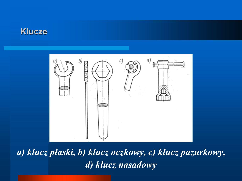 Klucze a) klucz płaski, b) klucz oczkowy, c) klucz pazurkowy, d) klucz nasadowy