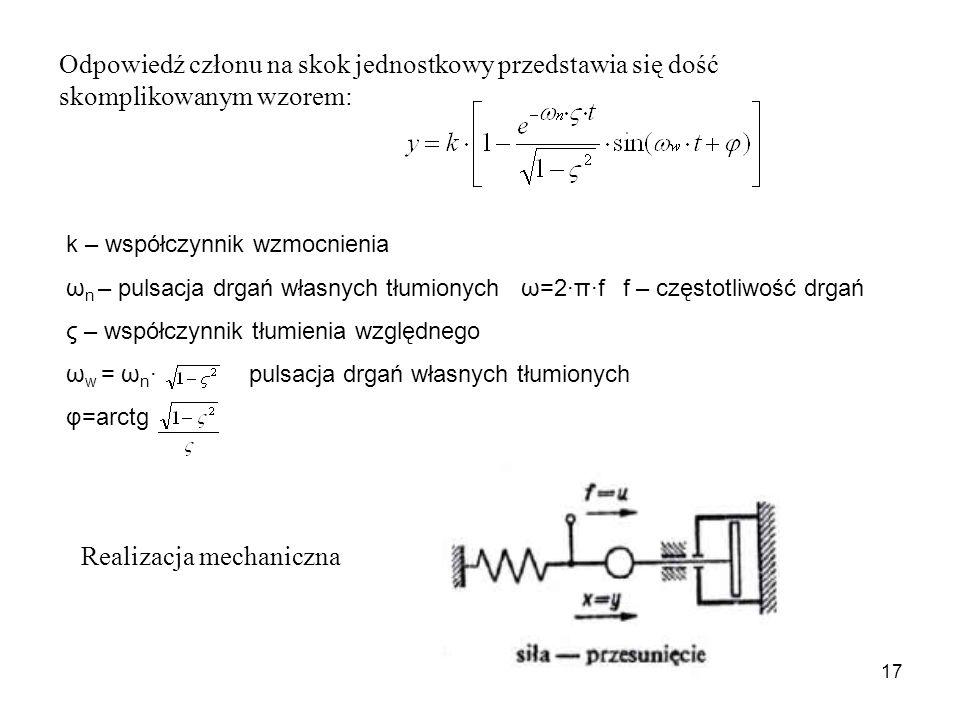 17 Odpowiedź członu na skok jednostkowy przedstawia się dość skomplikowanym wzorem: k – współczynnik wzmocnienia ω n – pulsacja drgań własnych tłumionych ω=2·π·f f – częstotliwość drgań ς – współczynnik tłumienia względnego ω w = ω n · pulsacja drgań własnych tłumionych φ=arctg Realizacja mechaniczna
