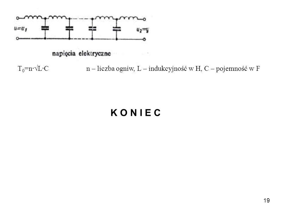 19 T 0 =n·L·C n – liczba ogniw, L – indukcyjność w H, C – pojemność w F K O N I E C