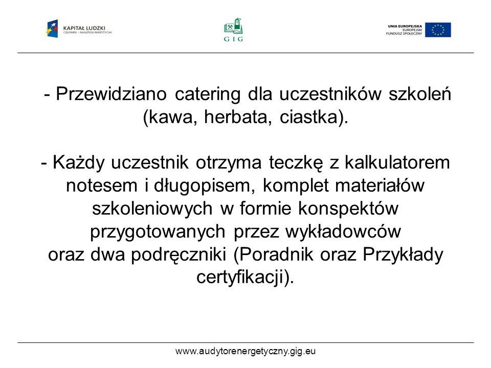 www.audytorenergetyczny.gig.eu - Przewidziano catering dla uczestników szkoleń (kawa, herbata, ciastka).