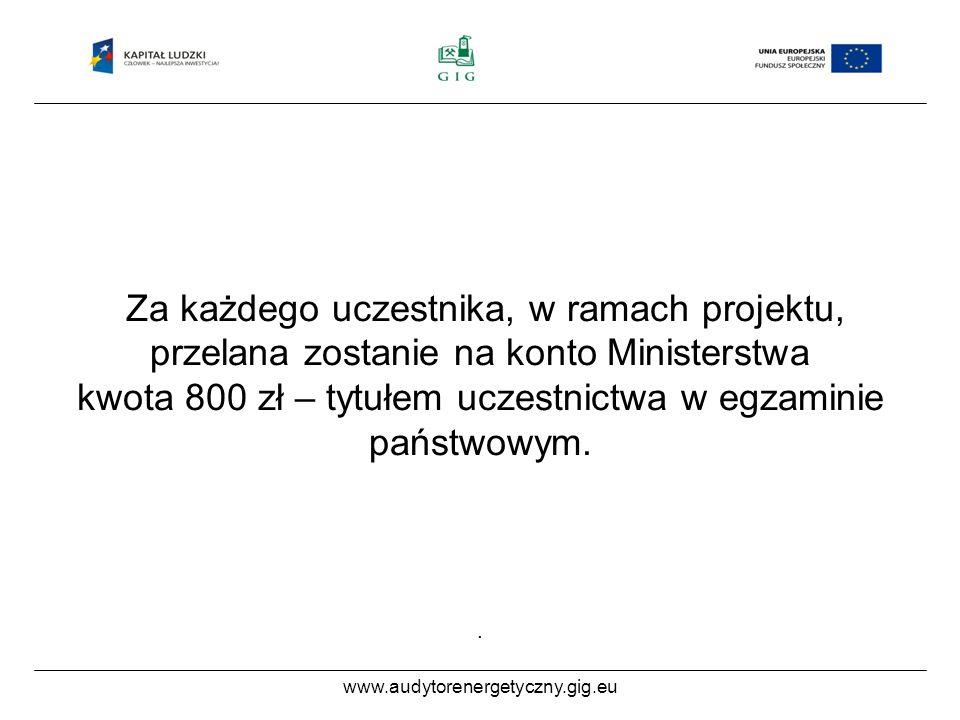www.audytorenergetyczny.gig.eu Za każdego uczestnika, w ramach projektu, przelana zostanie na konto Ministerstwa kwota 800 zł – tytułem uczestnictwa w egzaminie państwowym..