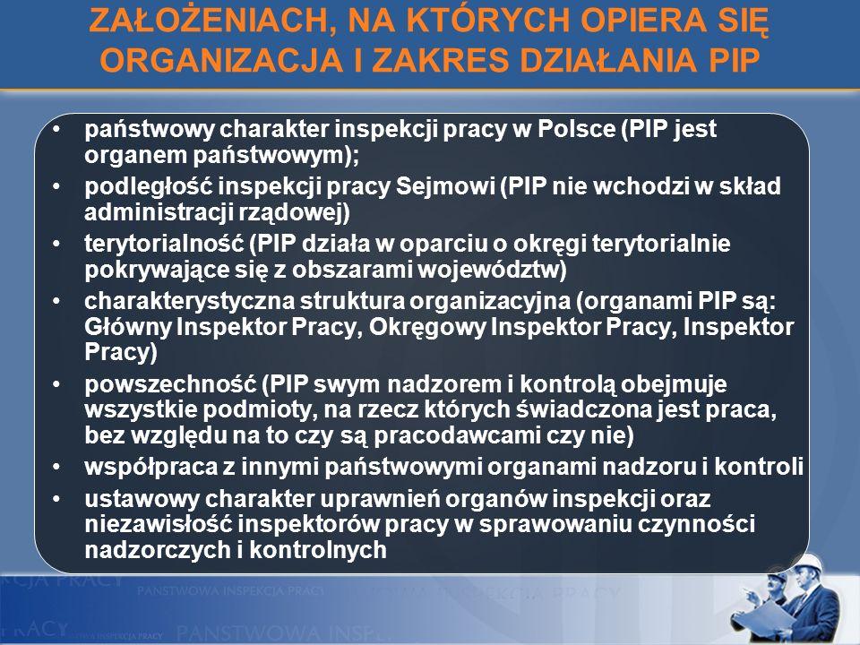 ZAŁOŻENIACH, NA KTÓRYCH OPIERA SIĘ ORGANIZACJA I ZAKRES DZIAŁANIA PIP państwowy charakter inspekcji pracy w Polsce (PIP jest organem państwowym); podl