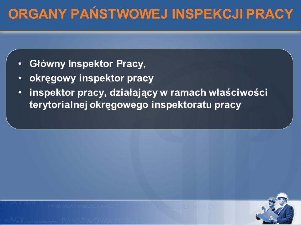 ORGANY PAŃSTWOWEJ INSPEKCJI PRACY Główny Inspektor Pracy, okręgowy inspektor pracy inspektor pracy, działający w ramach właściwości terytorialnej okrę