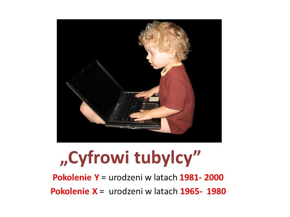 Cyfrowi tubylcy Pokolenie Y = urodzeni w latach 1981- 2000 Pokolenie X = urodzeni w latach 1965- 1980