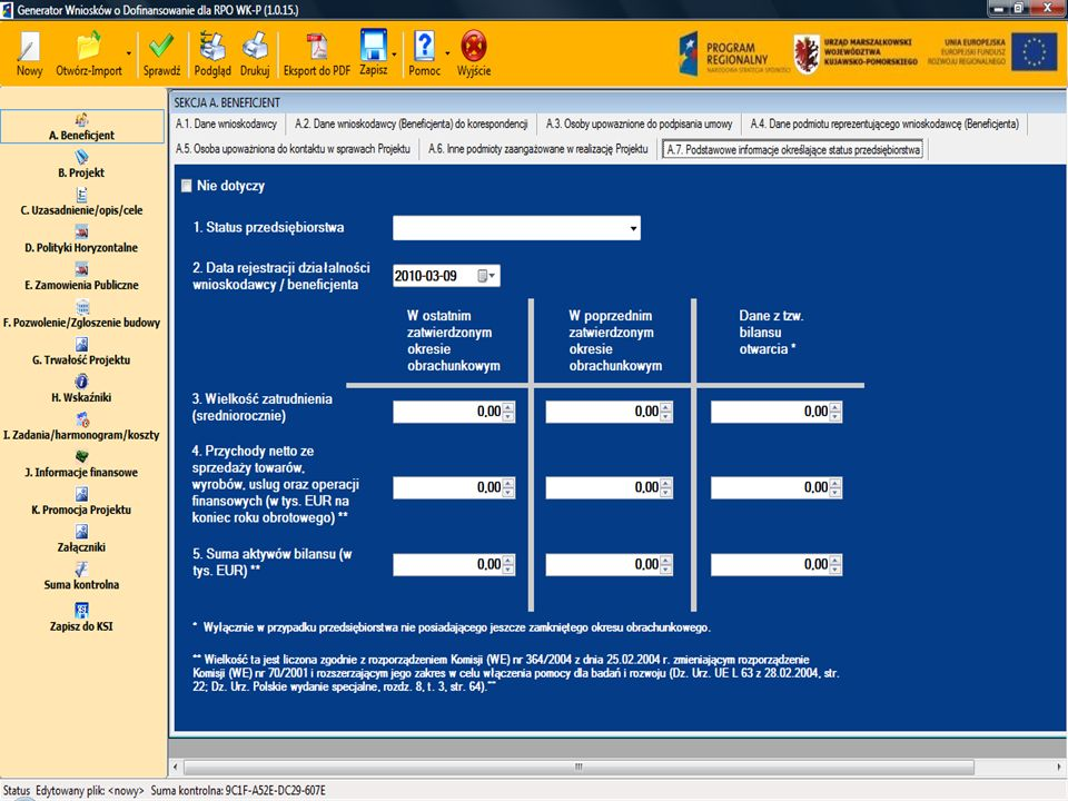 Departament Wdrażania RPO WK – P 11 Sekcja A Informacje o beneficjencie A.7.
