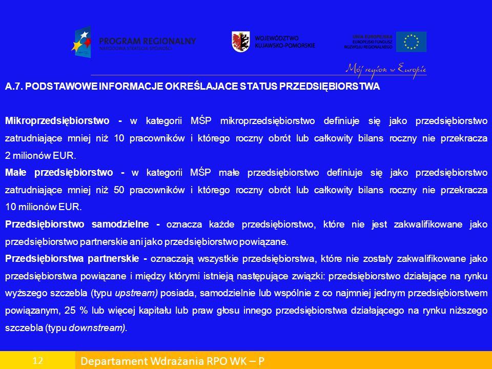 Departament Wdrażania RPO WK – P 12 A.7. PODSTAWOWE INFORMACJE OKREŚLAJACE STATUS PRZEDSIĘBIORSTWA Mikroprzedsiębiorstwo - w kategorii MŚP mikroprzeds