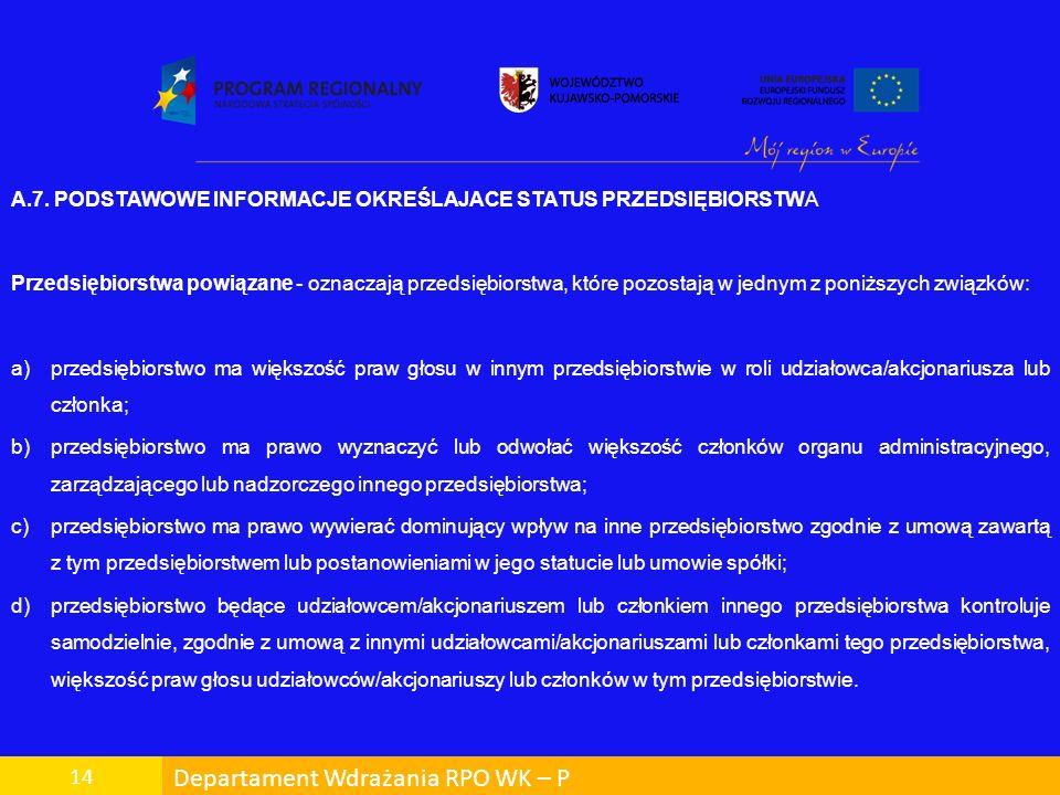 Departament Wdrażania RPO WK – P 14 A.7. PODSTAWOWE INFORMACJE OKREŚLAJACE STATUS PRZEDSIĘBIORSTWA Przedsiębiorstwa powiązane - oznaczają przedsiębior