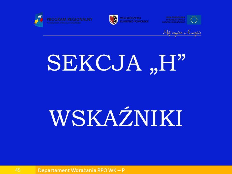Departament Wdrażania RPO WK – P 45 SEKCJA H WSKAŹNIKI