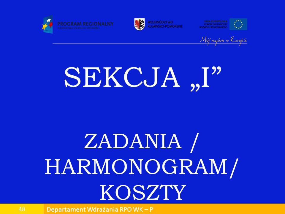 Departament Wdrażania RPO WK – P 48 SEKCJA I ZADANIA / HARMONOGRAM/ KOSZTY