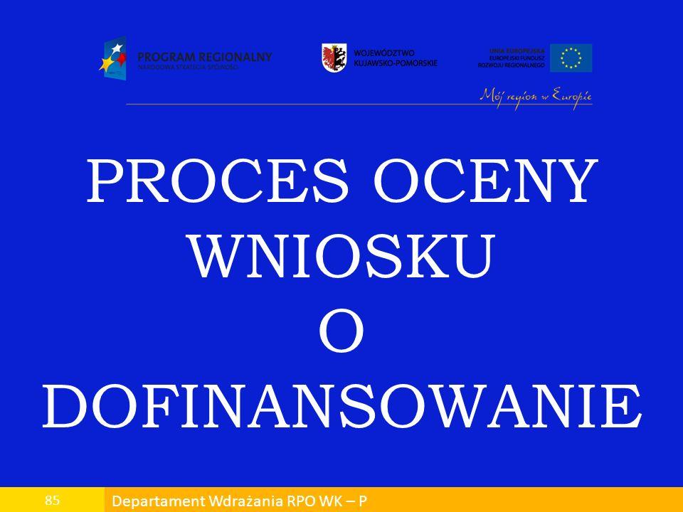 Departament Wdrażania RPO WK – P 85 PROCES OCENY WNIOSKU O DOFINANSOWANIE