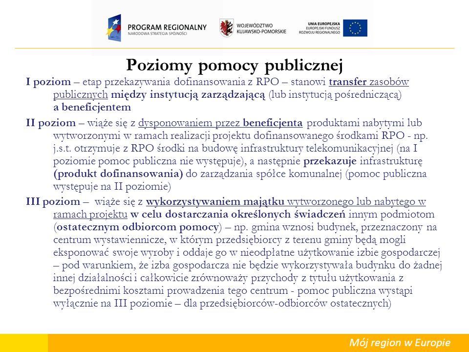 Mój region w Europie Poziomy pomocy publicznej I poziom – etap przekazywania dofinansowania z RPO – stanowi transfer zasobów publicznych między instyt