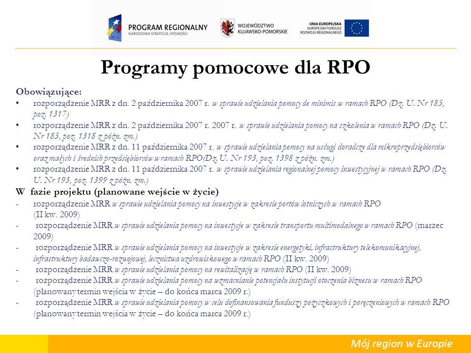 Mój region w Europie Programy pomocowe dla RPO Obowiązujące: rozporządzenie MRR z dn. 2 października 2007 r. w sprawie udzielania pomocy de minimis w